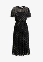 BILLIE BLOSSOM SPOT BELTED FIT & FLARE - Day dress - black