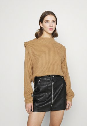 SHOULDER LIP JUMPER - Svetr - stone