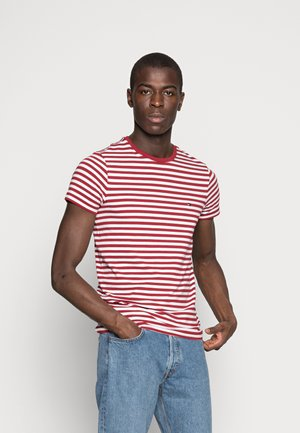 STRETCH SLIM FIT TEE - T-shirt - bas - rhubarb/bright white