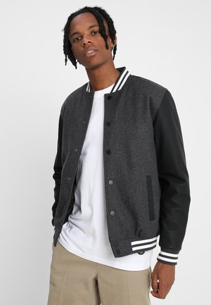 COLLEGE - Bomber Jacket - charcoal/black/white