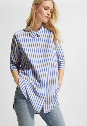Button-down blouse - powder blue stripes