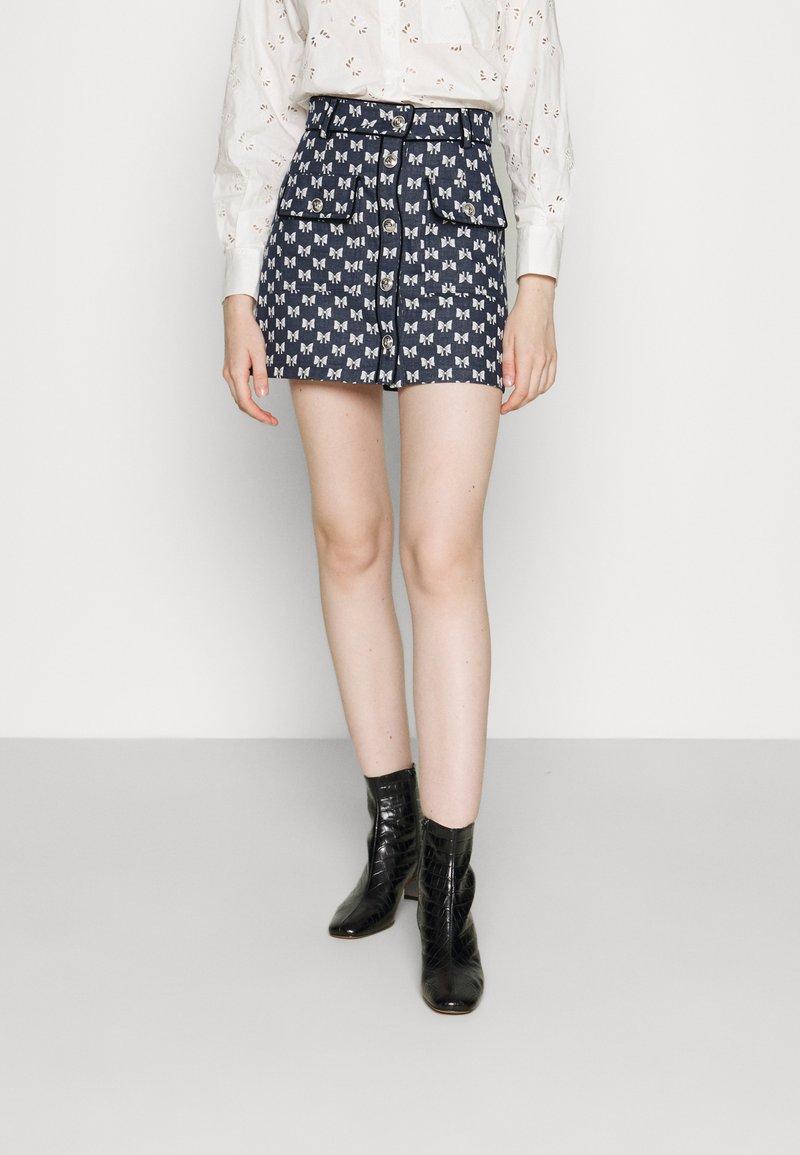 maje - JONALA - Mini skirt - nœuds marine