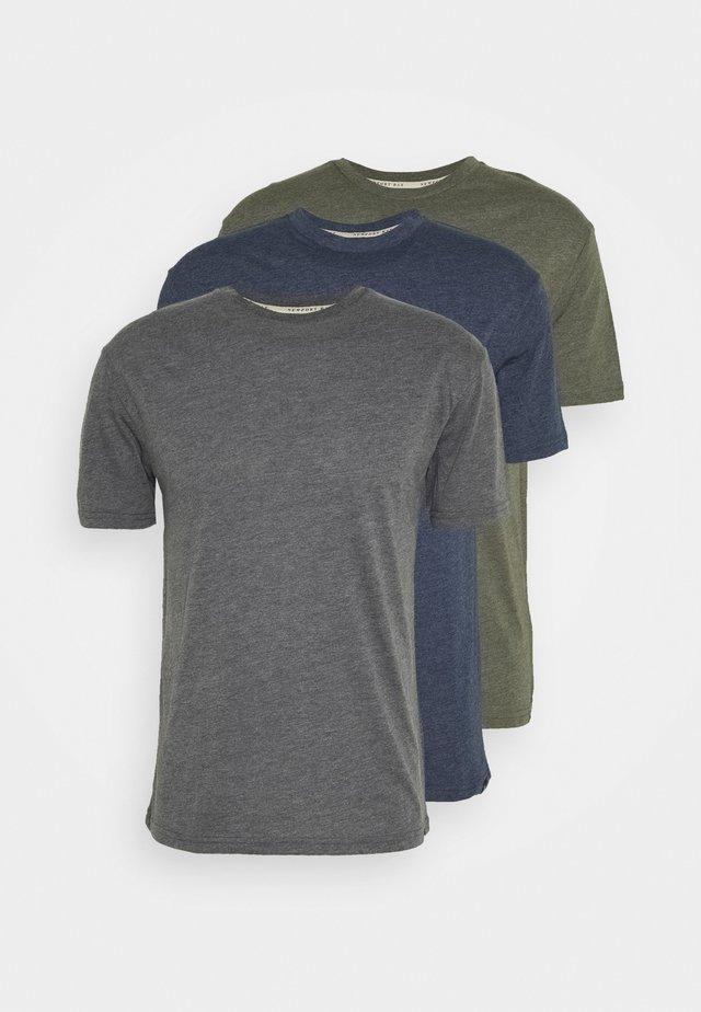 MULTI TEE AUTUMN 3 PACK - T-shirt basic - oliv/dark blue/dark gray mel
