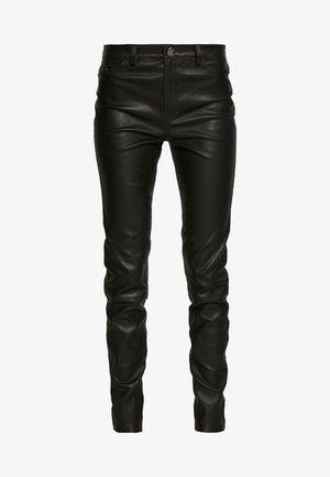 LEATHER BIKER PANTS - Kožené kalhoty - black