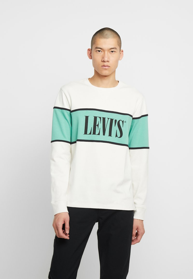 Levi's® - BORDER COLORBLOCK CREW - Sweater - mineral black/creme de menthe