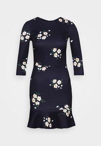 True Violet Petite - MINI DRESS WITH FRILL HEM - Denní šaty - navy floral - 4