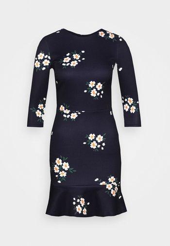 MINI DRESS WITH FRILL HEM - Kjole - navy floral
