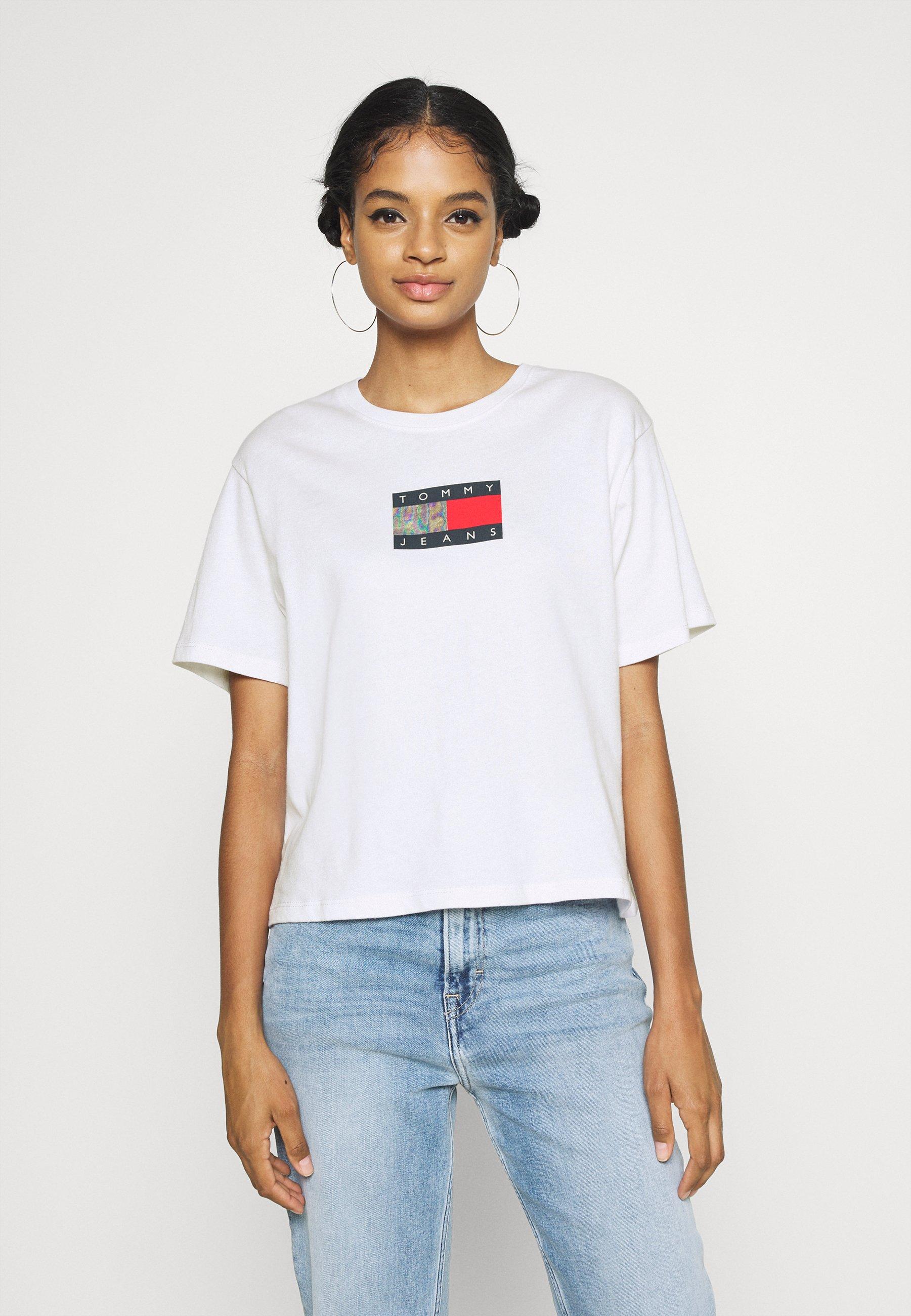 Women CROP FLAG TEE - Print T-shirt