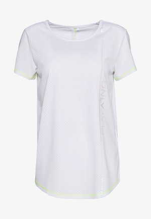 ONPALIX TRAINING TEE TALL - Camiseta estampada - white/safety yellow