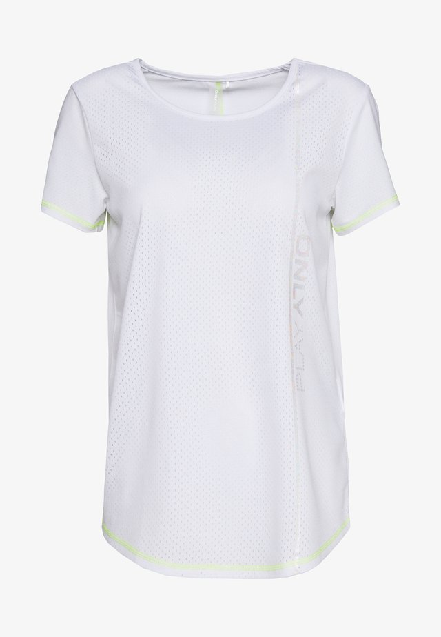 ONPALIX TRAINING TEE TALL - T-shirt con stampa - white/safety yellow