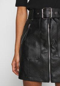 Topshop - HARDWEAR ZIP BIKER SKIRT - A-line skirt - black - 6