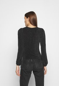 Dorothy Perkins - LUREX RUCHED FRONT - Long sleeved top - black - 2