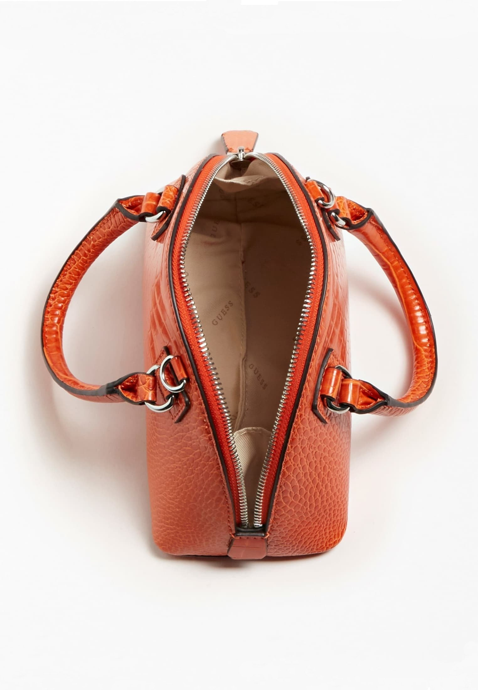 guess handtasche orange weiß