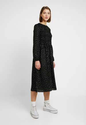 SMOCK DETAIL MIDI DRESS - Day dress - black
