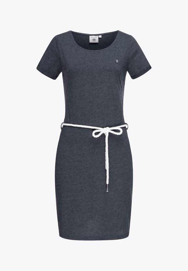 Jersey dress - blue melange plain