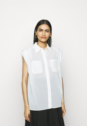 CAP SLEEVE BLOUSE - Button-down blouse - white