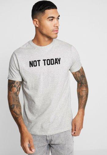 TODAY - T-shirt con stampa - ecru marl/black