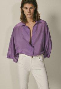 Massimo Dutti - Button-down blouse - dark purple - 3