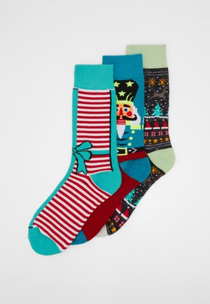 CHRISTMAS BOW AND NUTCRACKER SOCKS 3 PACK - Socks - multicolor
