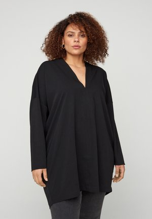 LONG-SLEEVED WITH A V-NECK - Tunica - black