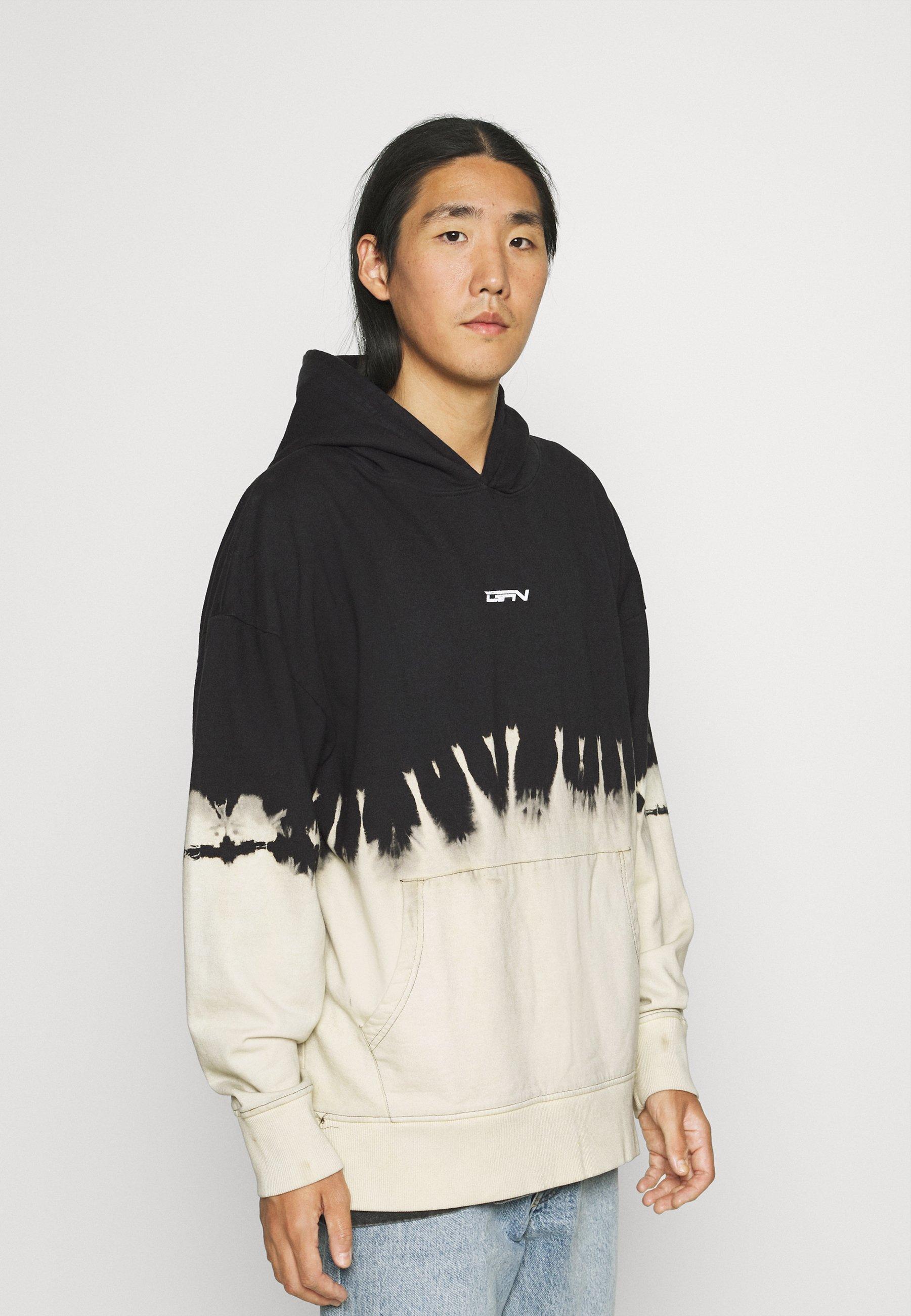 Homme OVERSIZED SPLIT BLEACH WASH HOOD - Sweatshirt