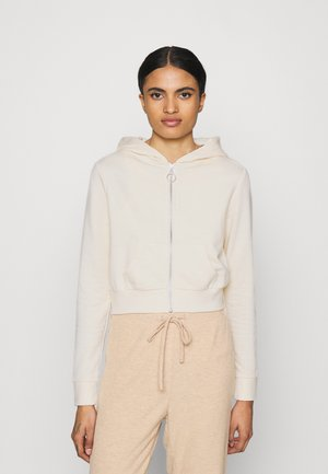 CROPPED ZIP UP HOODIE JACKET - Mikina na zip - white