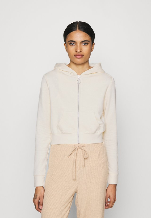 CROPPED ZIP UP HOODIE JACKET - Collegetakki - white