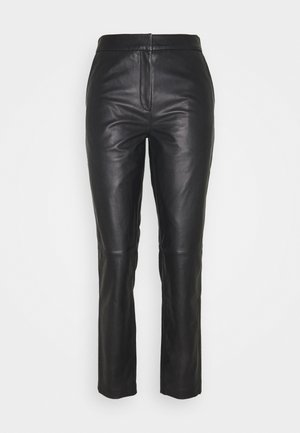 AVON - Leather trousers - black