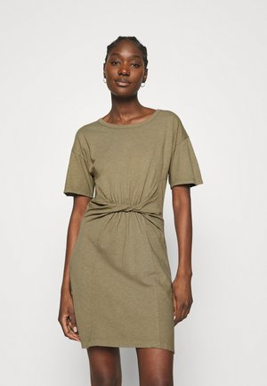 KNOT FRONT DRESS - Jerseyjurk - khaki