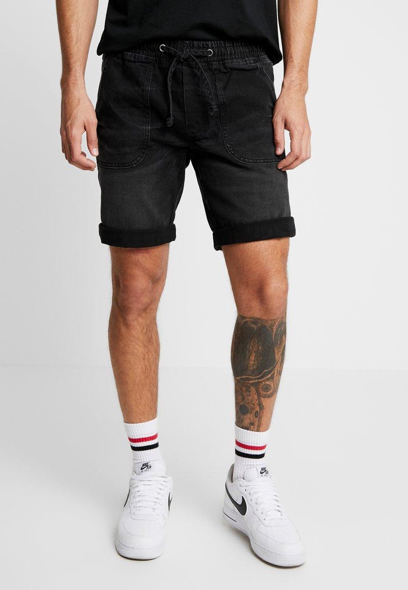 Redefined Rebel - COLOGNE DESTROY - Denim shorts - marble black