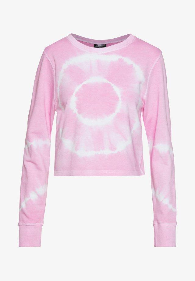LADIES TIE DYE CROPPED CREWNECK - Bluza - girly pink