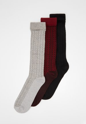 COSY SOCKS 3 PACK - Socks - black/grey/burgundy