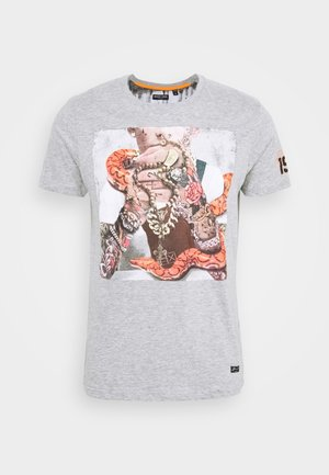 MAHONEY - Print T-shirt - light grey marl