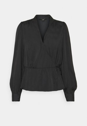 TIE WRAP BLOUSE SOFT - Bluser - black