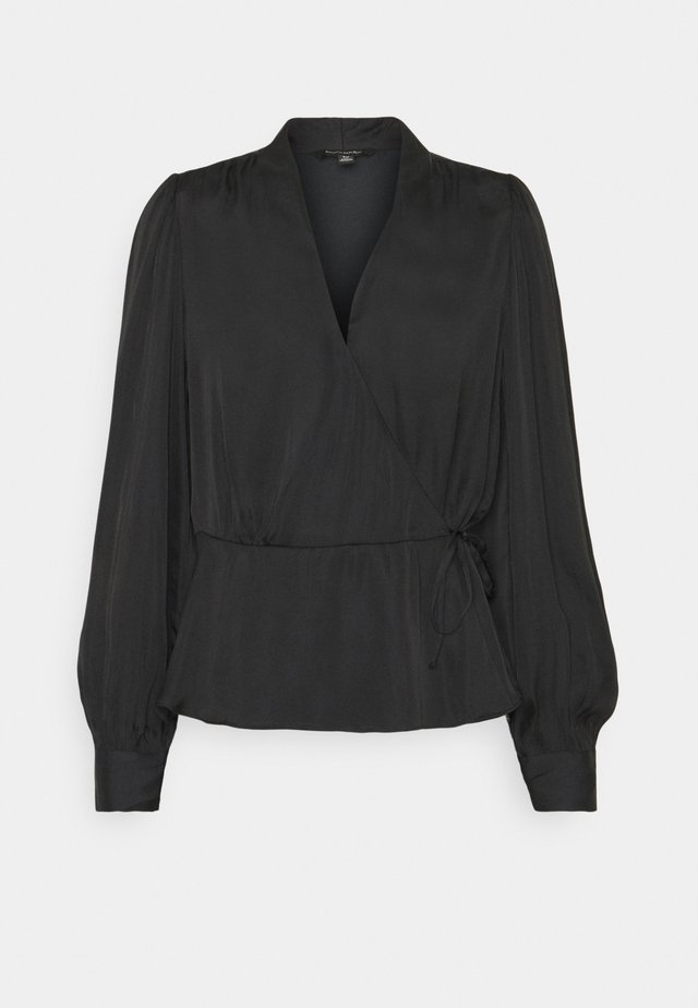 TIE WRAP BLOUSE SOFT - Blouse - black