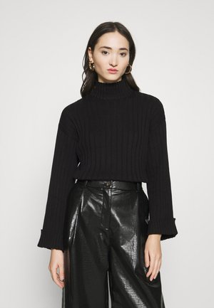 CROPPED- WIDE RIB JUMPER - Jersey de punto - black