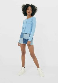 Stradivarius - MIT PATCHWORK - Long sleeved top - blue