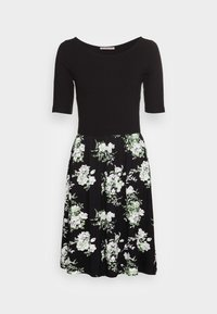 BOAT NECK PRINT DRESS WITH SOLID SKIRT - Žerzejové šaty - black