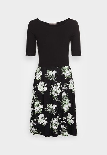 BOAT NECK PRINT DRESS WITH SOLID SKIRT - Jerseykjole - black