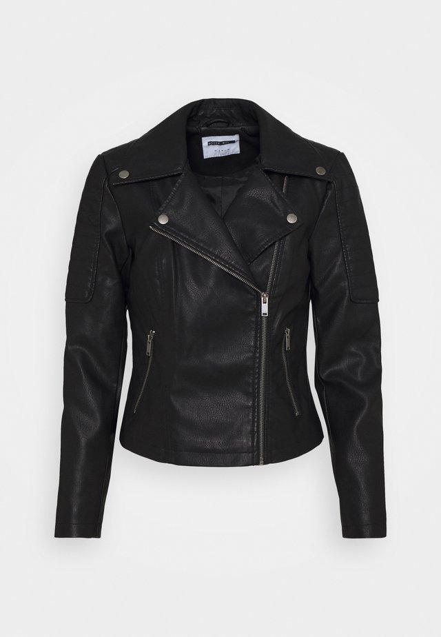 NMREBEL - Imitatieleren jas - black