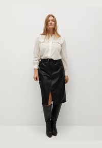 Violeta by Mango - Leather skirt - black - 1