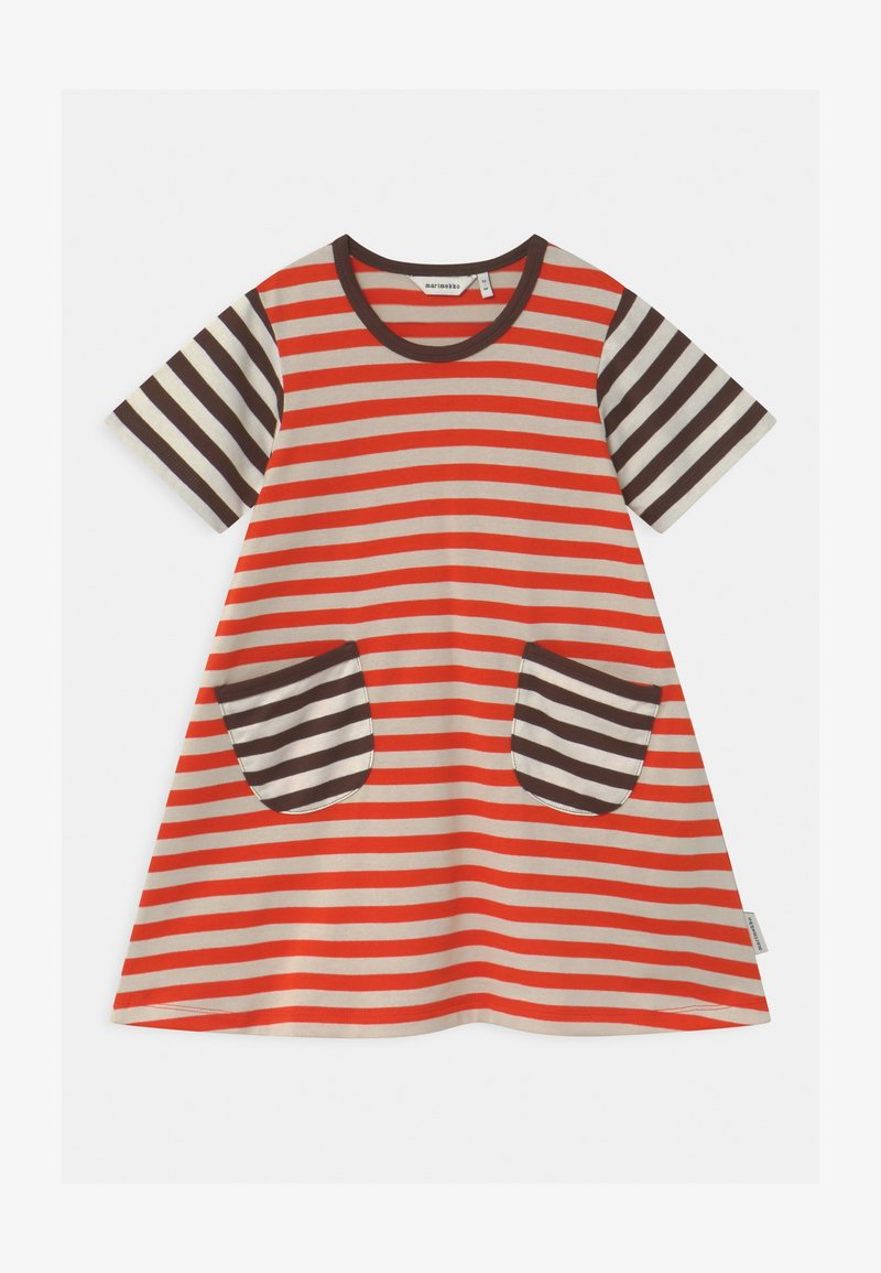 Marimekko - AHDE TASARAITA  - Jersey dress - orange red/light beige