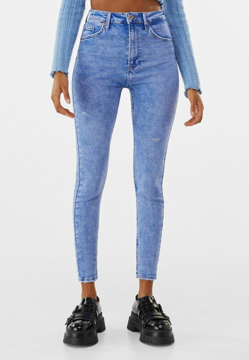 Bershka - SUPER HIGH WAIST - Jeans Skinny Fit - blue