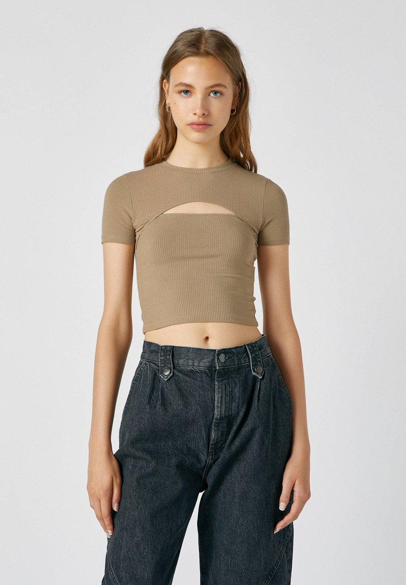 PULL&BEAR - Print T-shirt - light brown