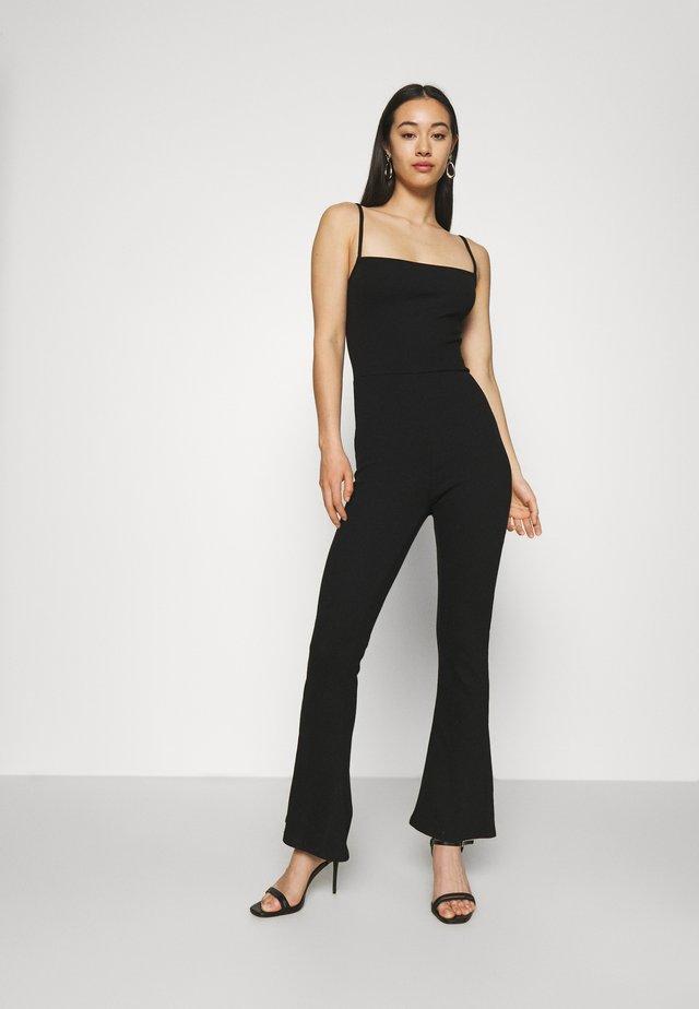 Flared legs strappy jumpsuit - Jumpsuit - black