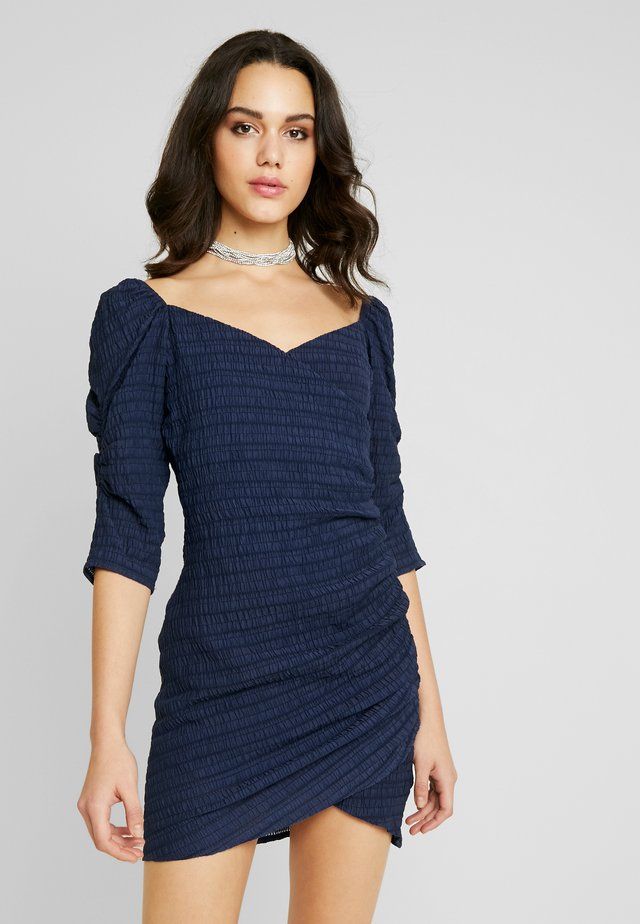 STRIPE PUFF SLEEVE BODYCON DRESS - Cocktail dress / Party dress - navy