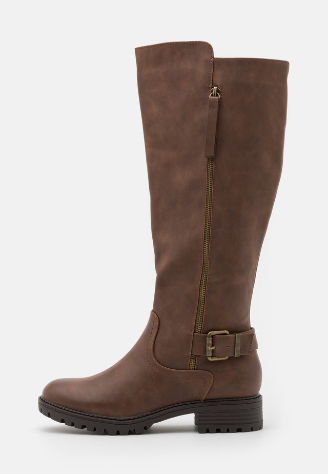 KAPTAIN ZIP CLEATED LONG BOOT - Botas - choc