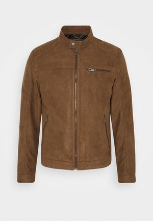 JJEROCKY JACKET - Faux leather jacket - cognac