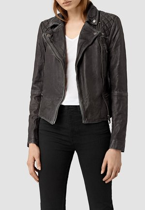 Leather jacket - black/grey