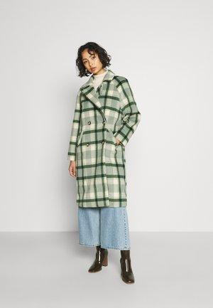 LAPEL COLLAR MIDI COAT - Classic coat - olive/beige
